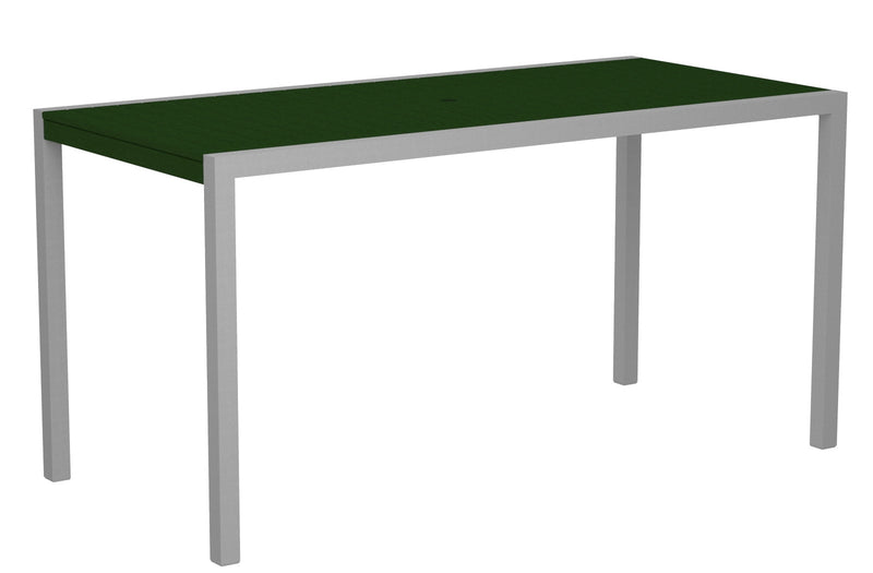 "8301-11GR MOD 36"" x 73"" Counter Table in Textured Silver and Green"