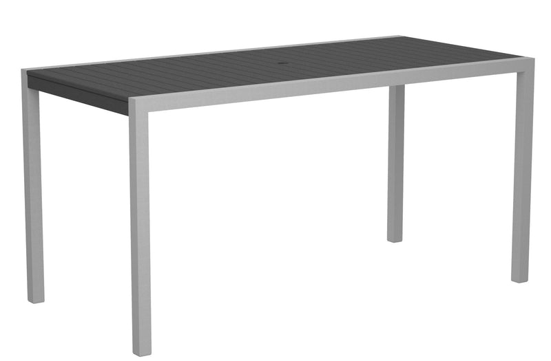 "8301-11GY MOD 36"" x 73"" Counter Table in Textured Silver and Slate Grey"