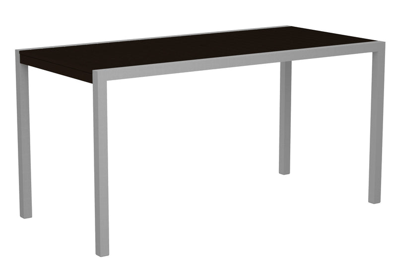 "8301-11MA MOD 36"" x 73"" Counter Table in Textured Silver and Mahogany"