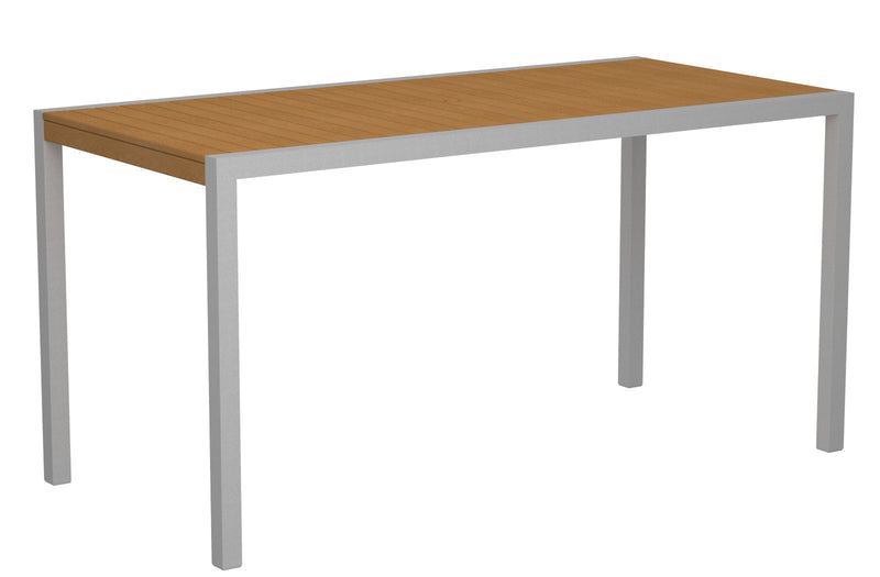 "8301-11NT MOD 36"" x 73"" Counter Table in Textured Silver and Plastique Natural Teak"
