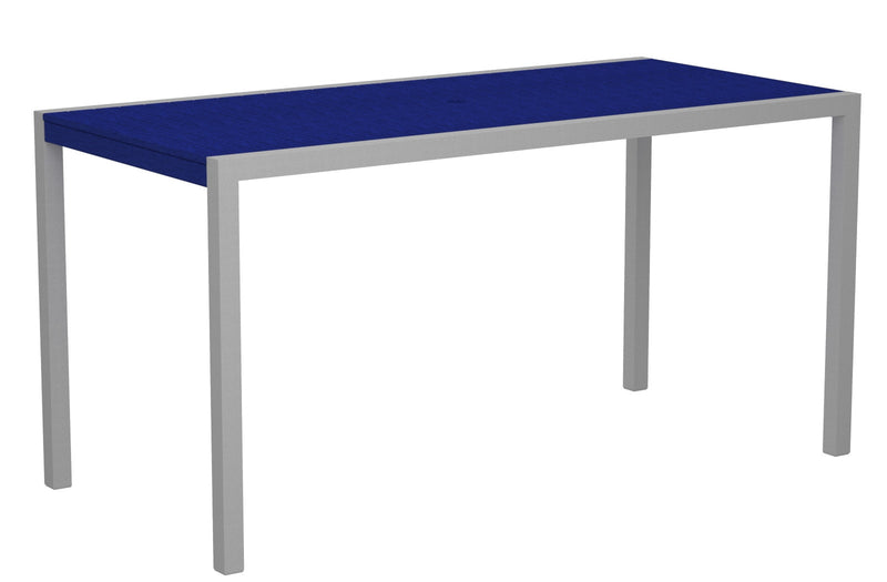"8301-11PB MOD 36"" x 73"" Counter Table in Textured Silver and Pacific Blue"