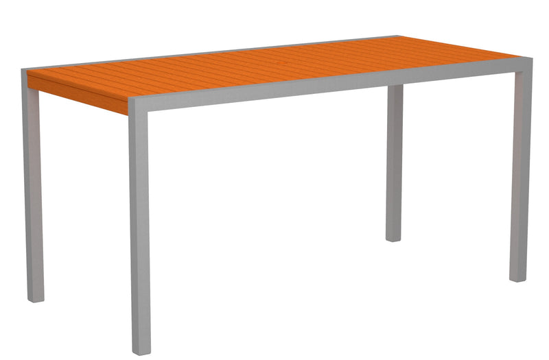 "8301-11TA MOD 36"" x 73"" Counter Table in Textured Silver and Tangerine"