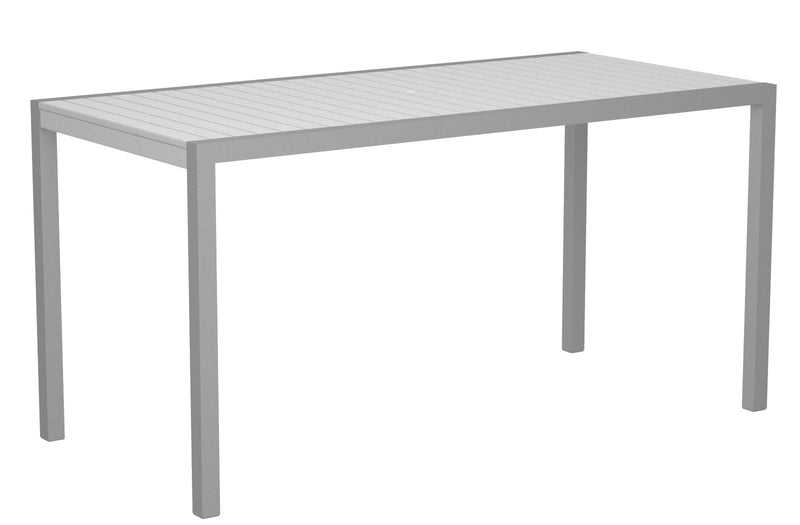 "8301-11WH MOD 36"" x 73"" Counter Table in Textured Silver and White"
