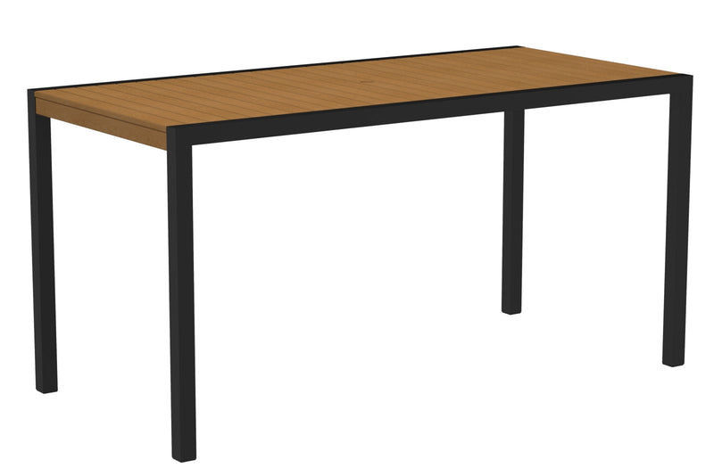"8301-12NT MOD 36"" x 73"" Counter Table in Textured Black and Plastique Natural Teak"