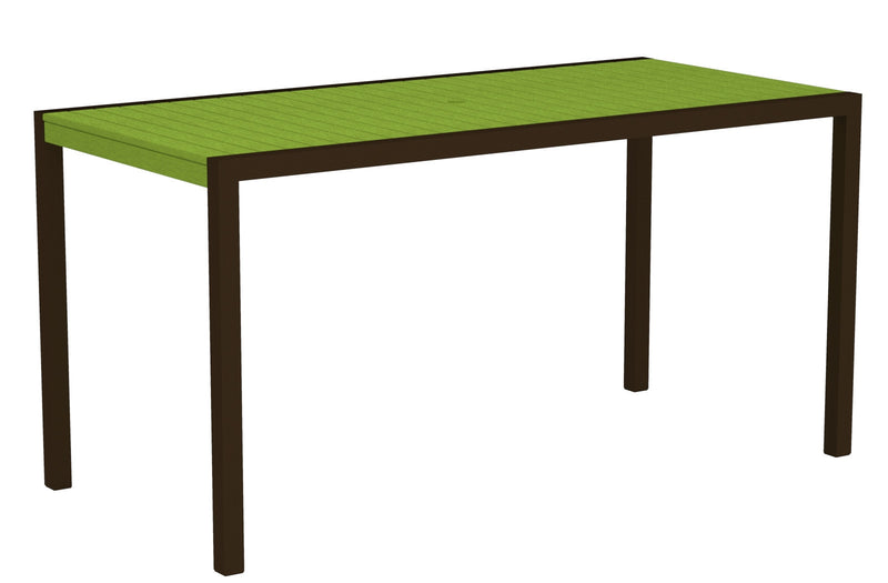 "8301-16LI MOD 36"" x 73"" Counter Table in Textured Bronze and Lime"