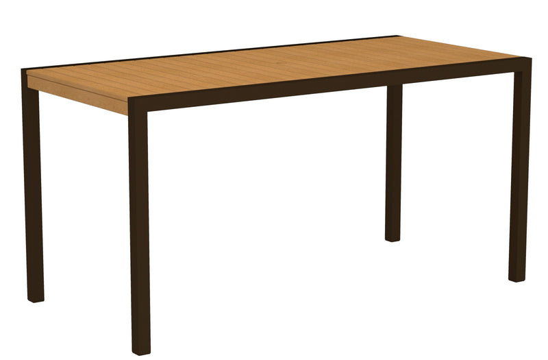 "8301-16NT MOD 36"" x 73"" Counter Table in Textured Bronze and Plastique Natural Teak"