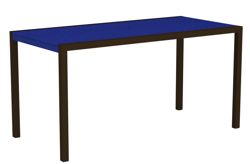"8301-16PB MOD 36"" x 73"" Counter Table in Textured Bronze and Pacific Blue"