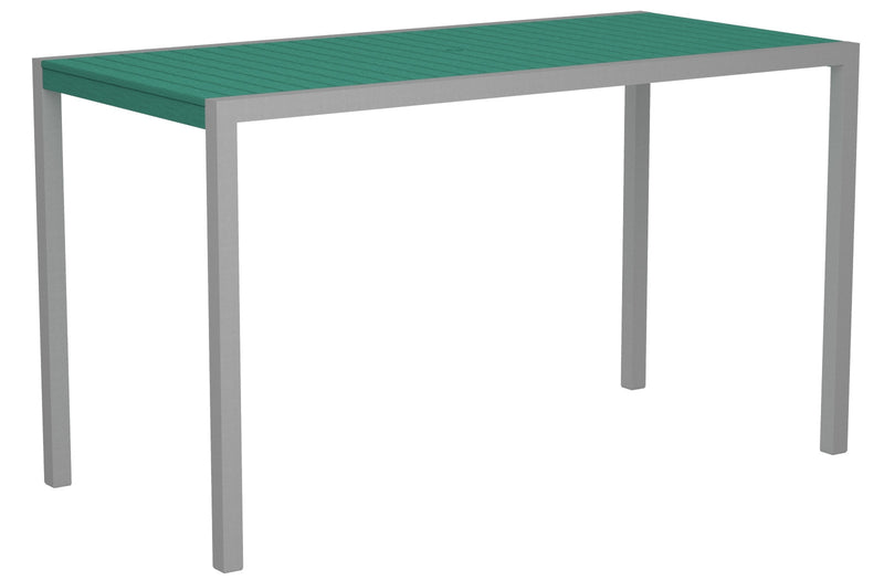 "8302-11AR MOD 36"" x 73"" Bar Table in Textured Silver and Aruba"