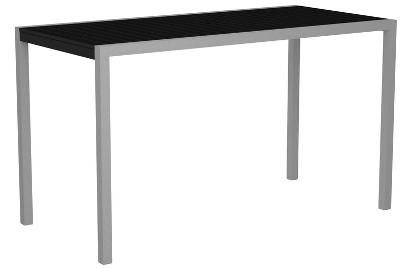 "8302-11BL MOD 36"" x 73"" Bar Table in Textured Silver and Black"
