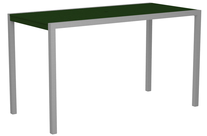 "8302-11GR MOD 36"" x 73"" Bar Table in Textured Silver and Green"