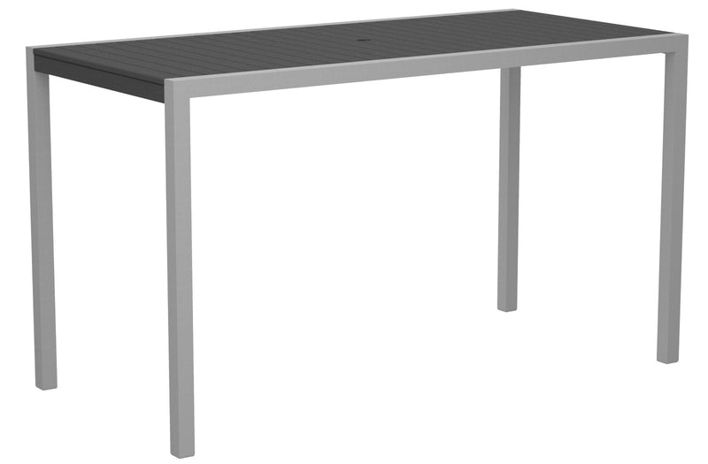 "8302-11GY MOD 36"" x 73"" Bar Table in Textured Silver and Slate Grey"