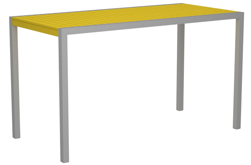 "8302-11LE MOD 36"" x 73"" Bar Table in Textured Silver and Lemon"