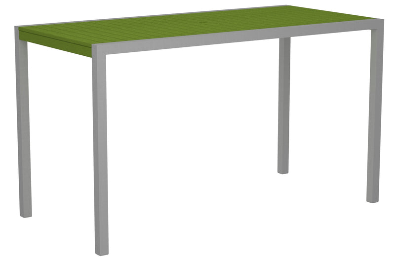 "8302-11LI MOD 36"" x 73"" Bar Table in Textured Silver and Lime"