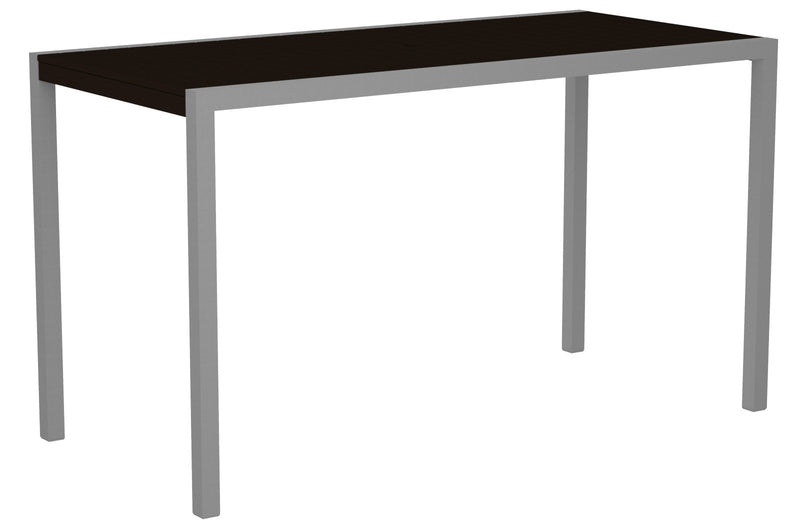 "8302-11MA MOD 36"" x 73"" Bar Table in Textured Silver and Mahogany"