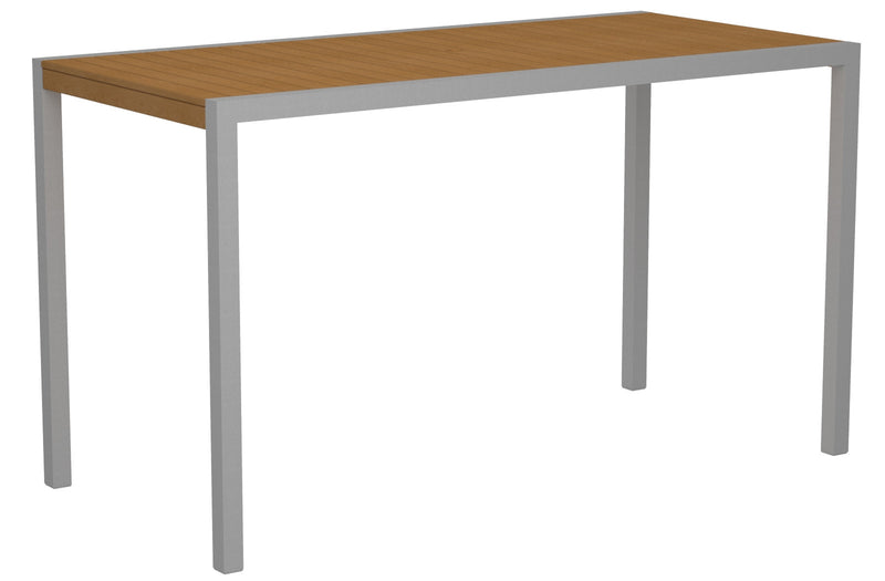 "8302-11NT MOD 36"" x 73"" Bar Table in Textured Silver and Plastique Natural Teak"
