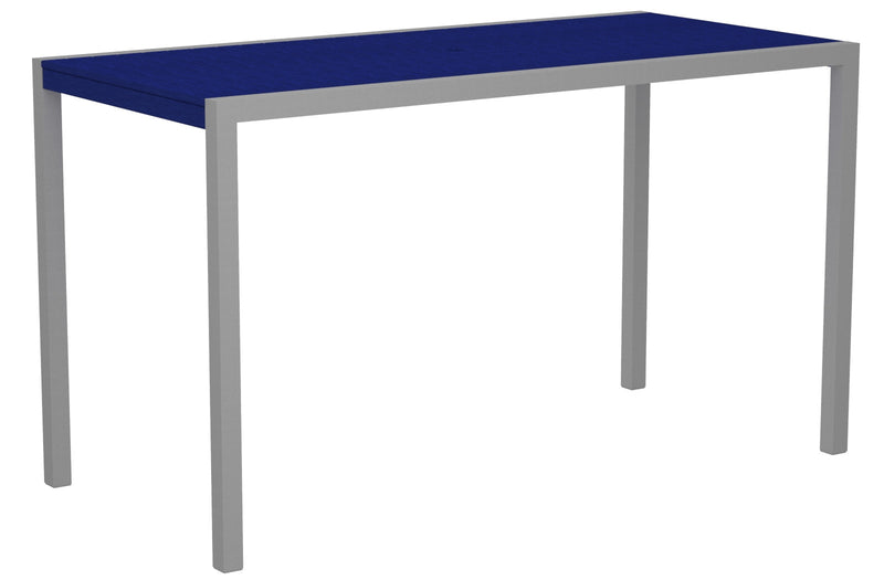 "8302-11PB MOD 36"" x 73"" Bar Table in Textured Silver and Pacific Blue"