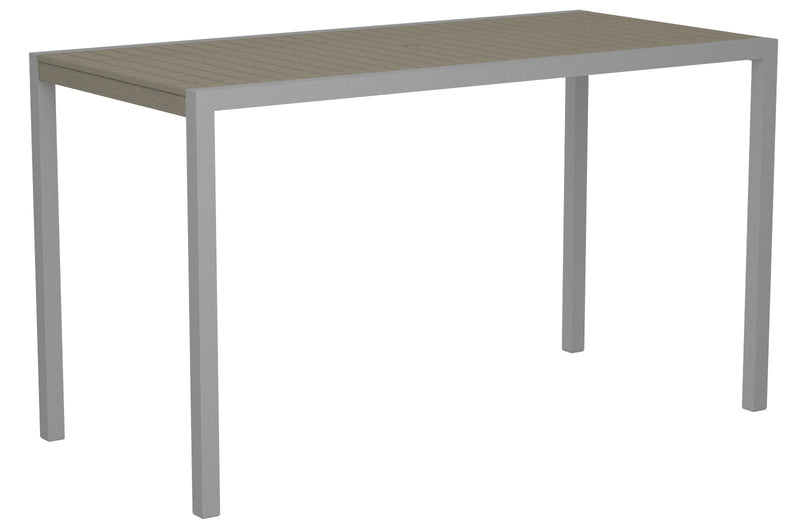"8302-11SA MOD 36"" x 73"" Bar Table in Textured Silver and Sand"