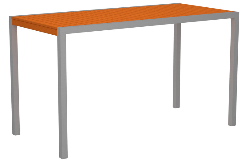 "8302-11TA MOD 36"" x 73"" Bar Table in Textured Silver and Tangerine"