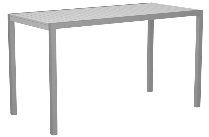 "8302-11WH MOD 36"" x 73"" Bar Table in Textured Silver and White"