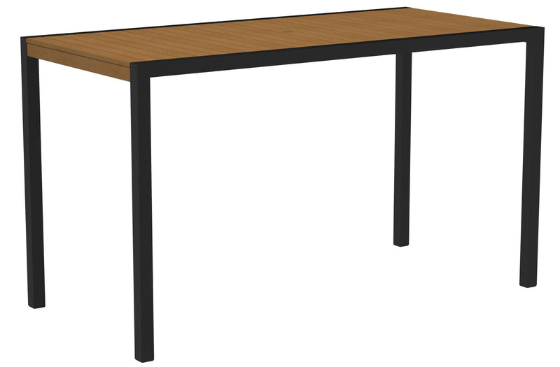 "8302-12NT MOD 36"" x 73"" Bar Table in Textured Black and Plastique Natural Teak"