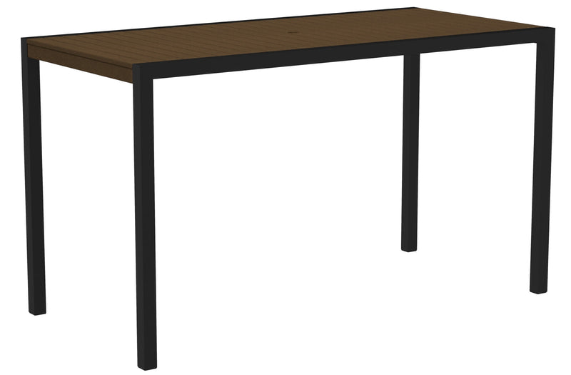 "8302-12TE MOD 36"" x 73"" Bar Table in Textured Black and Teak"