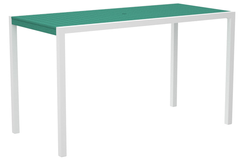 "8302-13AR MOD 36"" x 73"" Bar Table in Satin White and Aruba"
