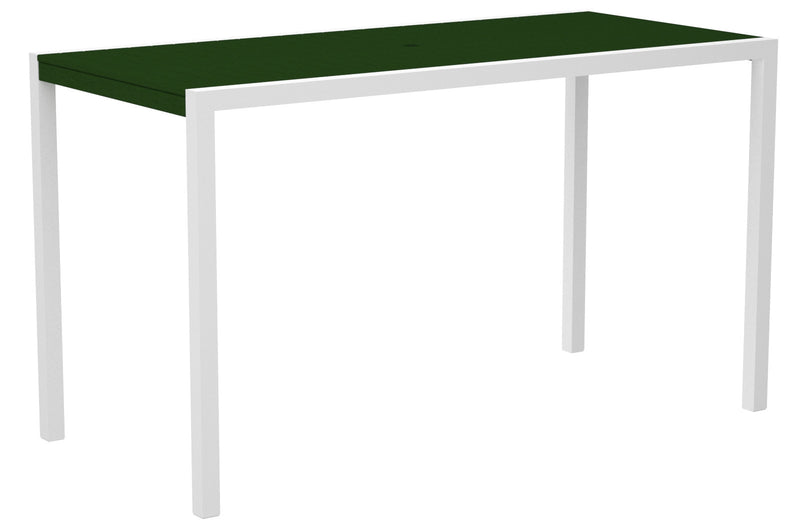 "8302-13GR MOD 36"" x 73"" Bar Table in Satin White and Green"
