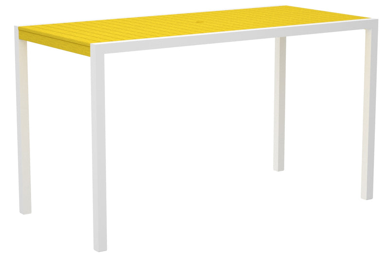"8302-13LE MOD 36"" x 73"" Bar Table in Satin White and Lemon"