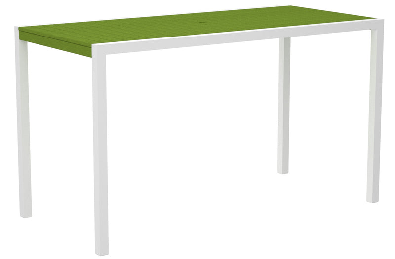 "8302-13LI MOD 36"" x 73"" Bar Table in Satin White and Lime"