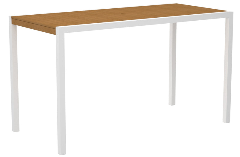 "8302-13NT MOD 36"" x 73"" Bar Table in Satin White and Plastique Natural Teak"