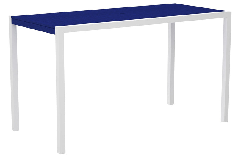 "8302-13PB MOD 36"" x 73"" Bar Table in Satin White and Pacific Blue"