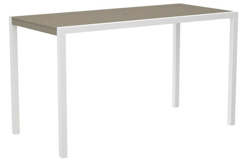 "8302-13SA MOD 36"" x 73"" Bar Table in Satin White and Sand"