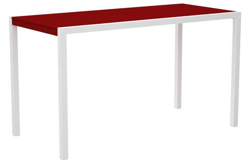 "8302-13SR MOD 36"" x 73"" Bar Table in Satin White and Sunset Red"