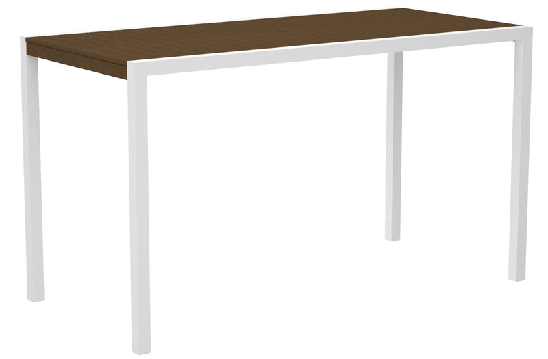 "8302-13TE MOD 36"" x 73"" Bar Table in Satin White and Teak"
