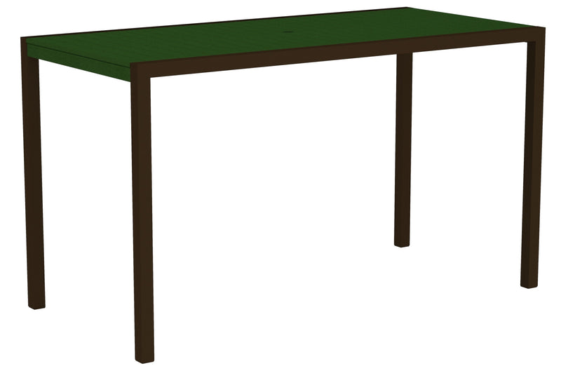 "8302-16GR MOD 36"" x 73"" Bar Table in Textured Bronze and Green"