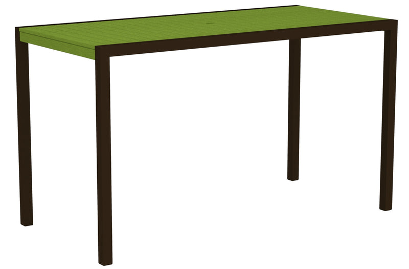 "8302-16LI MOD 36"" x 73"" Bar Table in Textured Bronze and Lime"