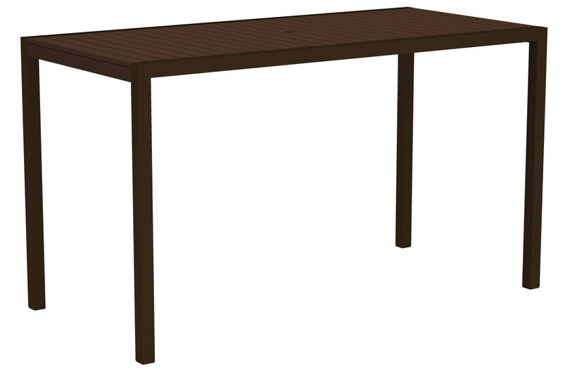 "8302-16MA MOD 36"" x 73"" Bar Table in Textured Bronze and Mahogany"