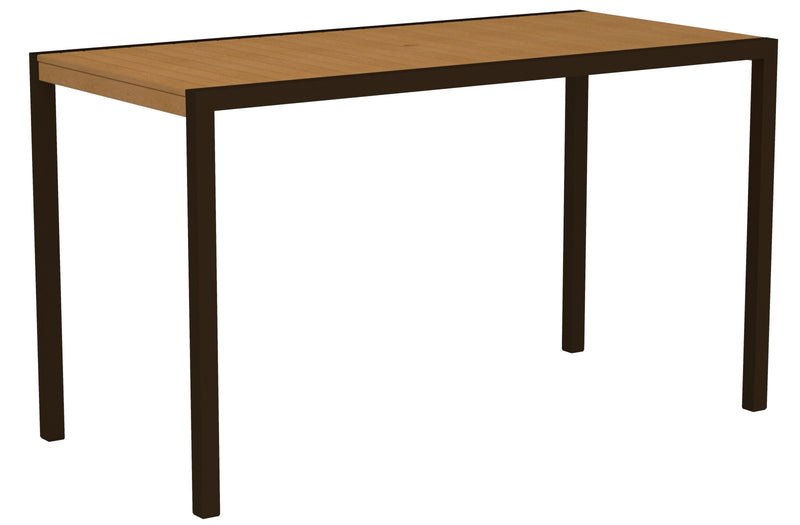 "8302-16NT MOD 36"" x 73"" Bar Table in Textured Bronze and Plastique Natural Teak"