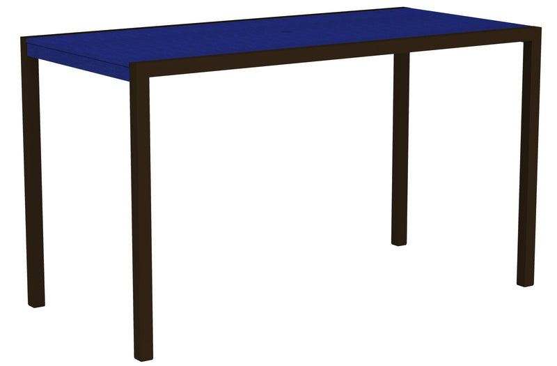 "8302-16PB MOD 36"" x 73"" Bar Table in Textured Bronze and Pacific Blue"