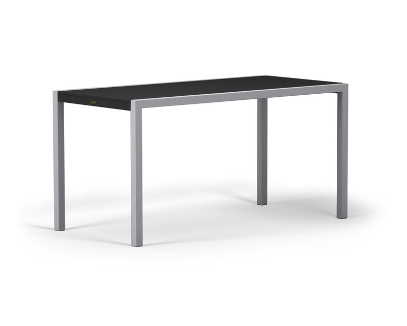 "8321-11MBL MOD SOLID 36"" x 73"" Counter Table in Textured Silver and Black"