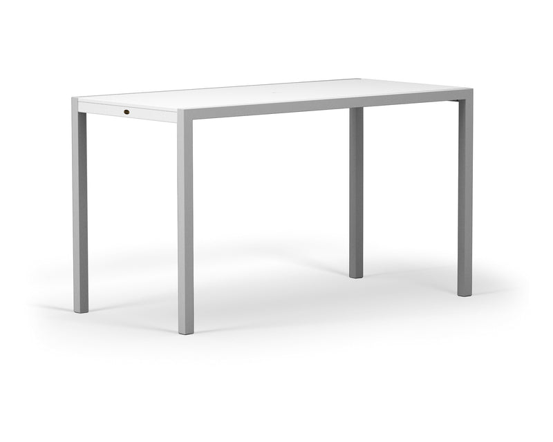 "8322-11MWH MOD SOLID 36"" x 73"" Bar Table in Textured Silver and White"