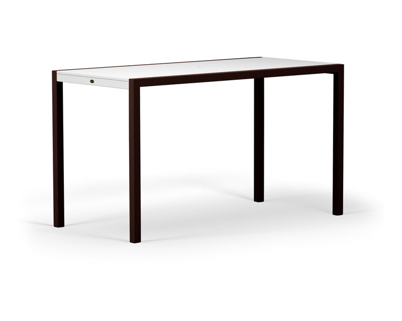 "8322-16MWH MOD SOLID 36"" x 73"" Bar Table in Textured Bronze and White"