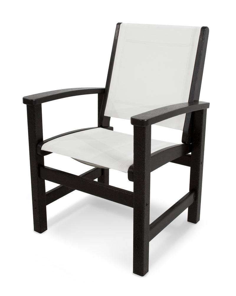 9010-BL901 Coastal Dining Chair in Black with a White Sling