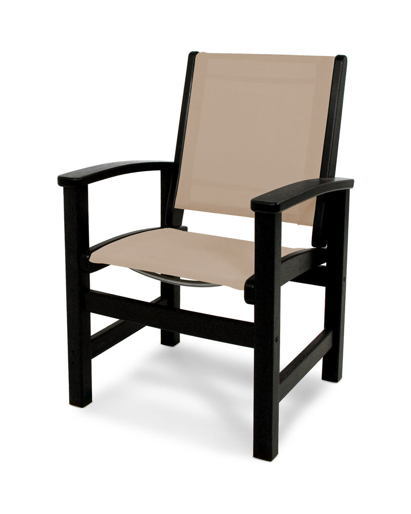 9010-BL903 Coastal Dining Chair in Black with a Stucco Sling