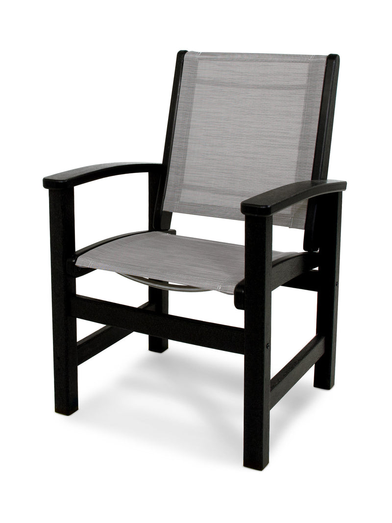 9010-BL909 Coastal Dining Chair in Black with a Metallic Sling