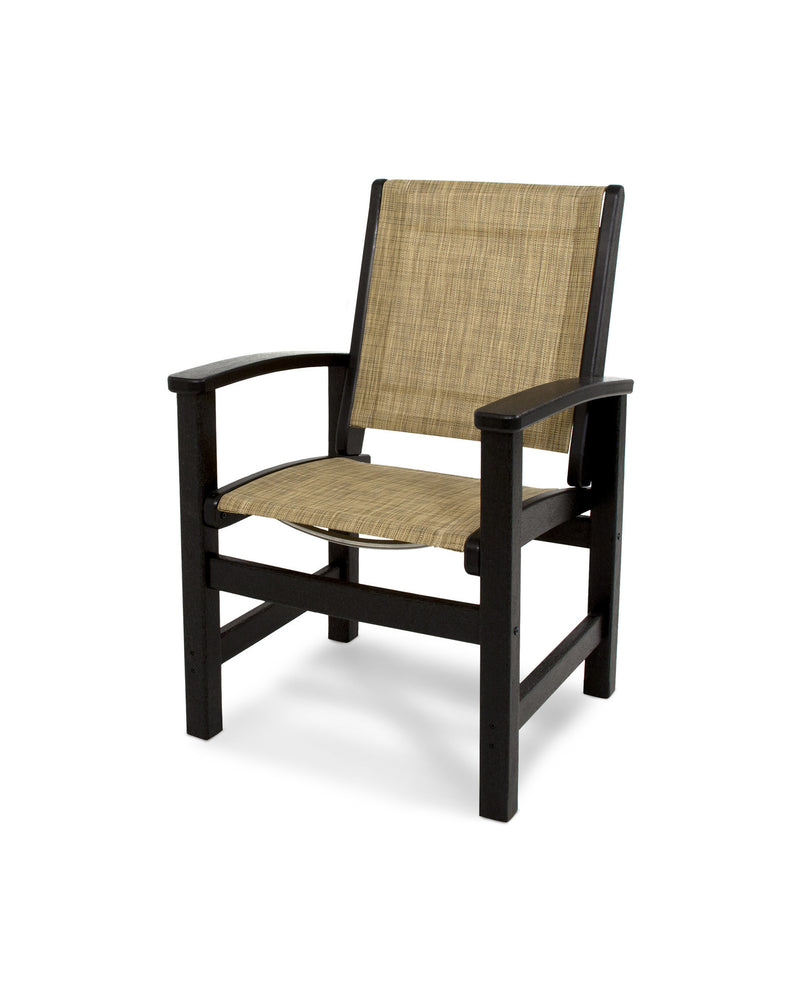 9010-BL912 Coastal Dining Chair in Black with a Burlap Sling
