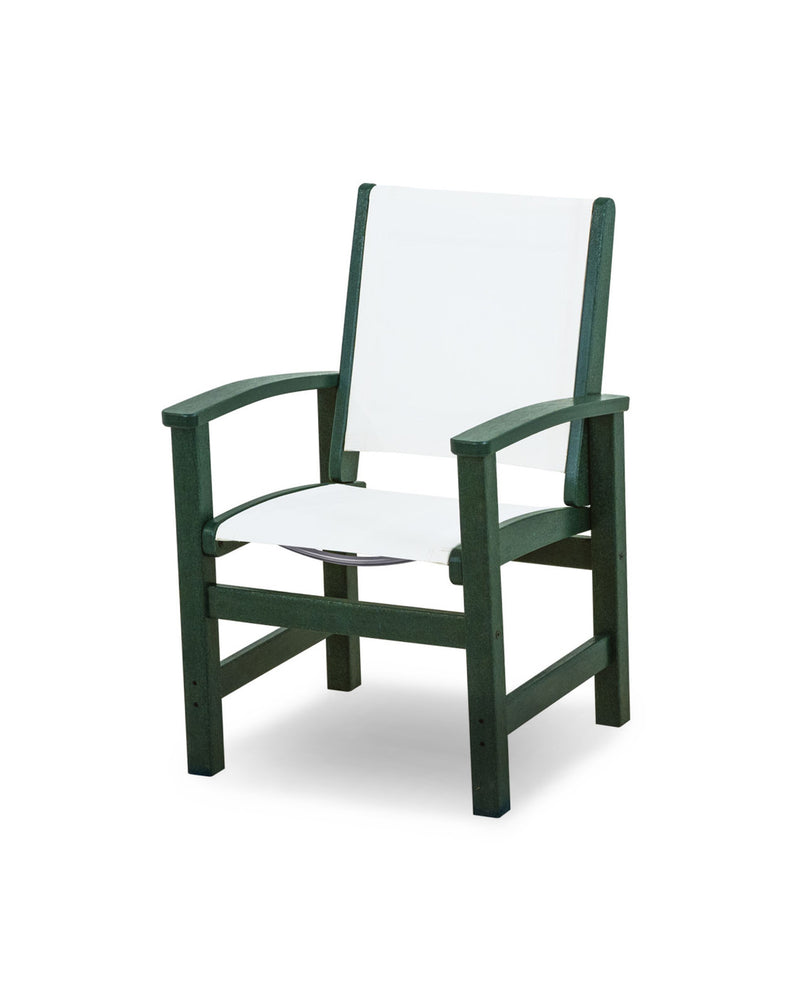 9010-GR901 Coastal Dining Chair in Green with a White Sling