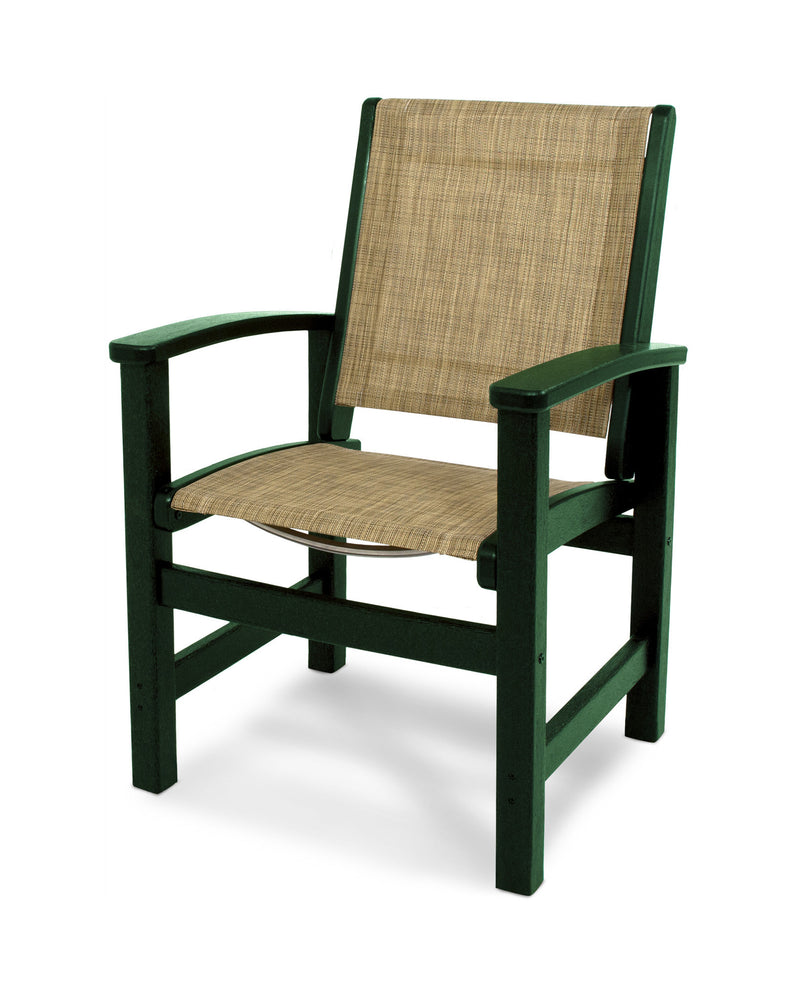 9010-GR912 Coastal Dining Chair in Green with a Burlap Sling