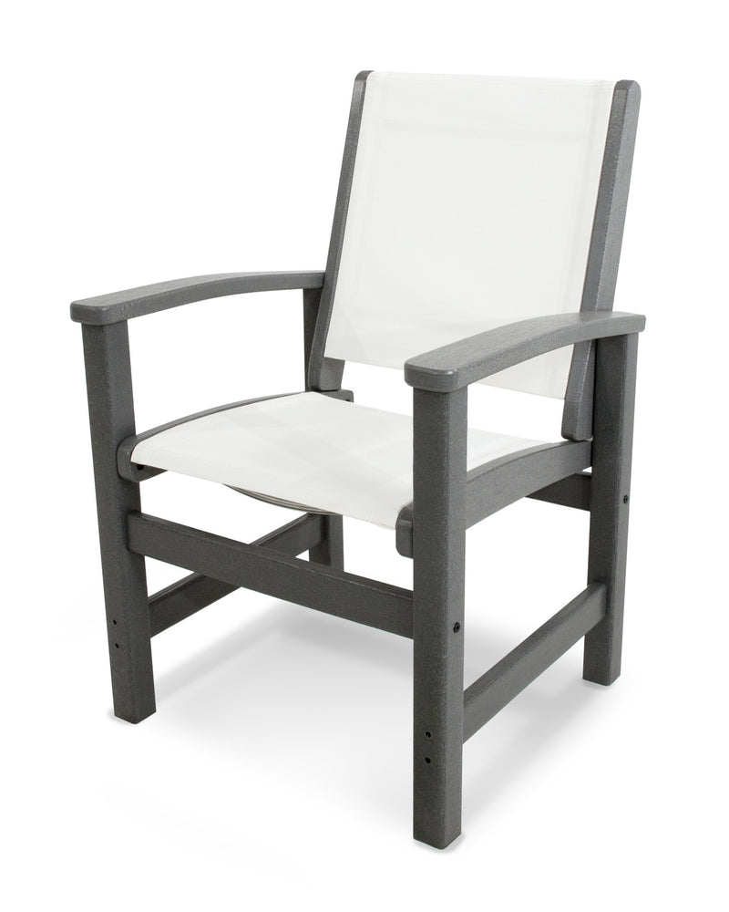 9010-GY901 Coastal Dining Chair in Slate Grey with a White Sling