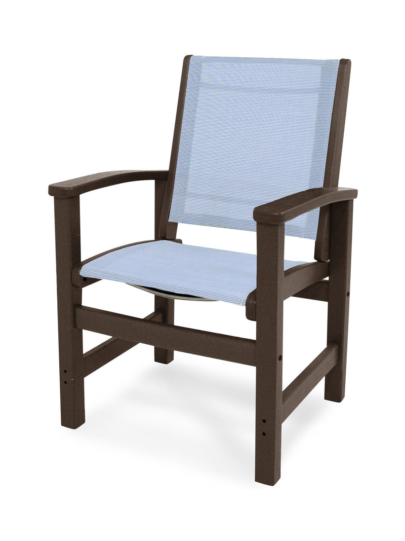 9010-MA910 Coastal Dining Chair in Mahogany with a Poolside Sling